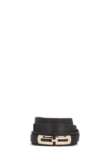 Warehouse, Leather Metal Detail Belt Black 0