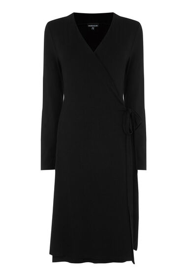 Warehouse, BELTED WRAP DRESS Black 0