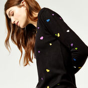 Warehouse, HEART EMBROIDERED JUMPER Black 4