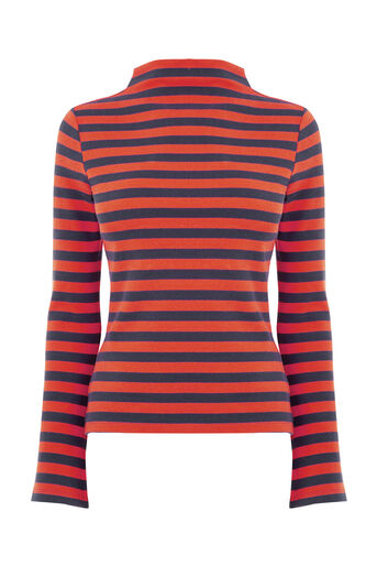 Warehouse, STRIPE RIB TOP Red Stripe 0