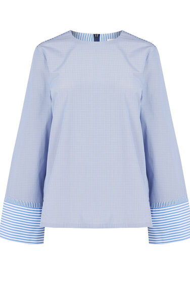Warehouse, STRIPE LONG SLEEVE TOP Blue Stripe 0