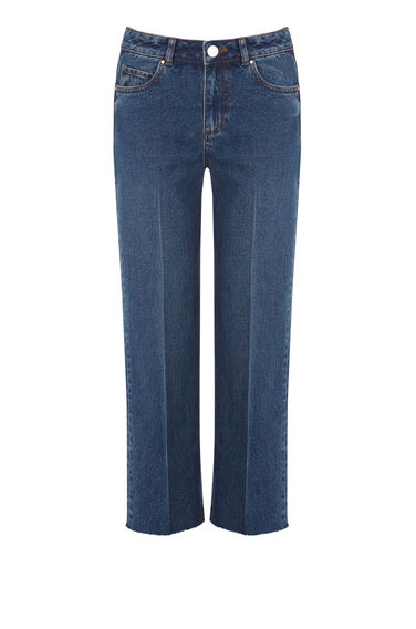 Warehouse, Creased Front Jeans Mid Wash Denim 0