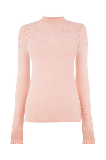 Warehouse, POINTELLE HIGH NECK JUMPER Light Pink 0
