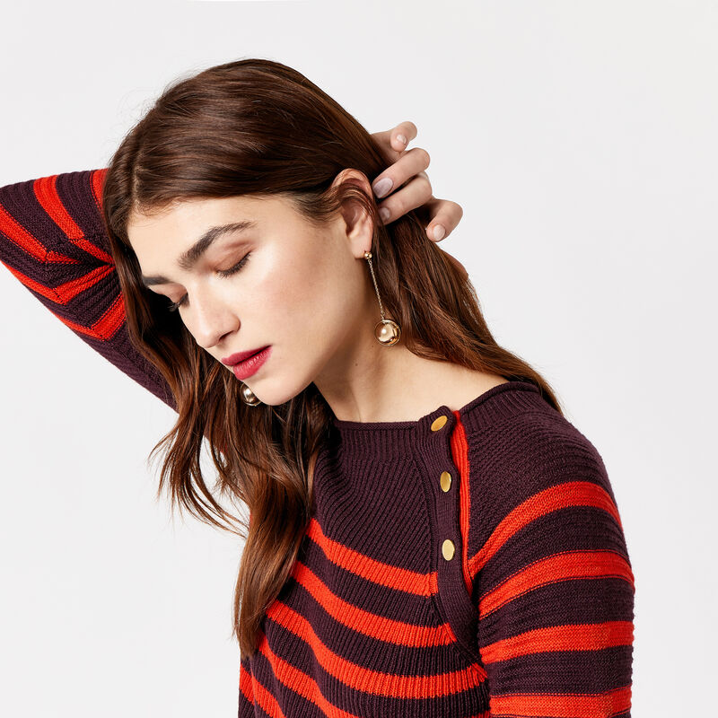 Warehouse, BUTTON DETAIL STRIPE JUMPER Red Stripe 1
