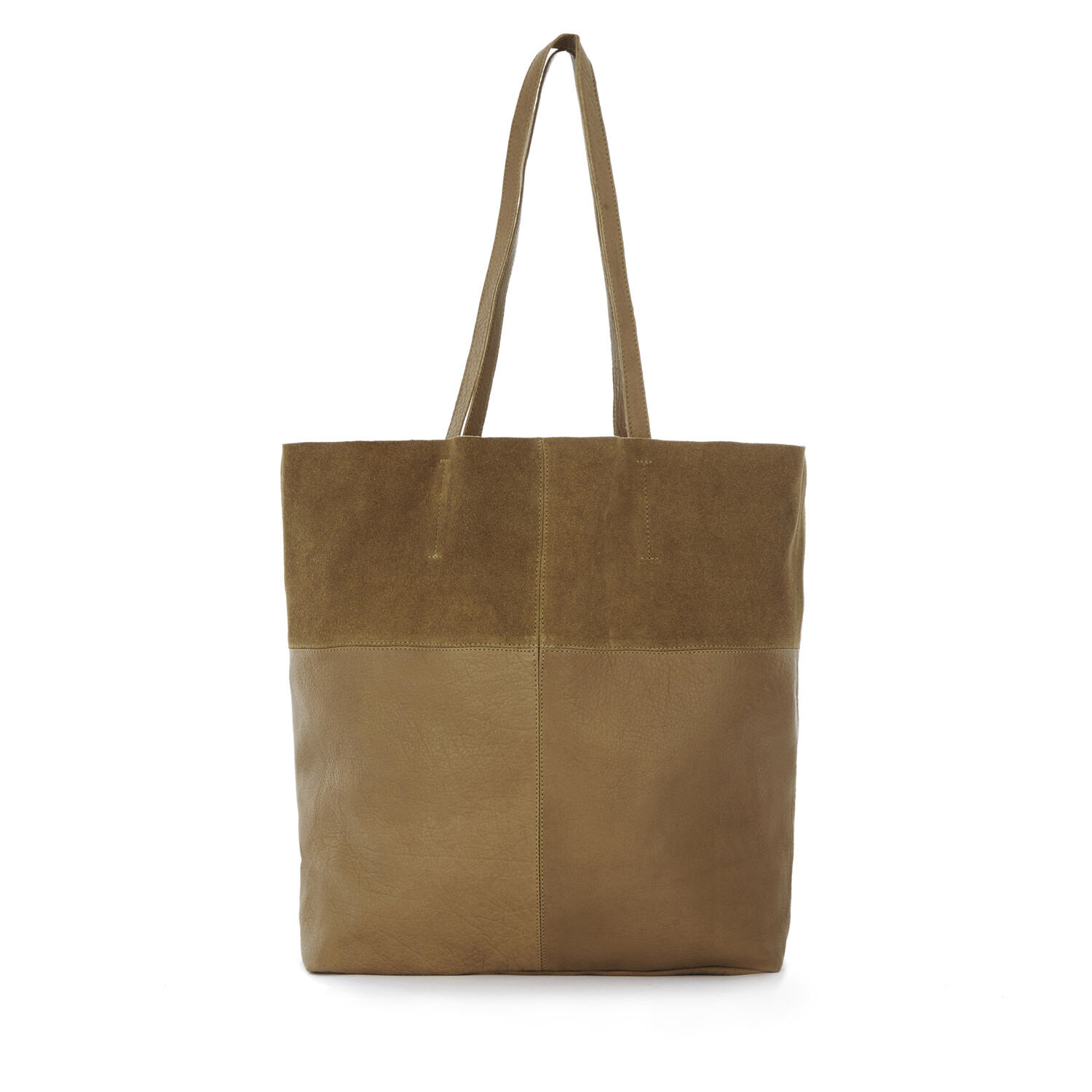 Warehouse, Leather Panelled Shopper Bag Tan 1