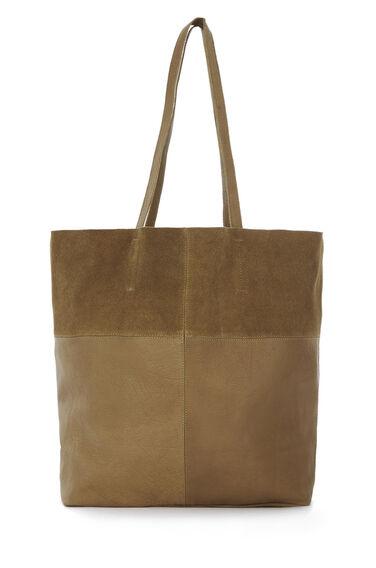 Warehouse, Leather Panelled Shopper Bag Tan 0