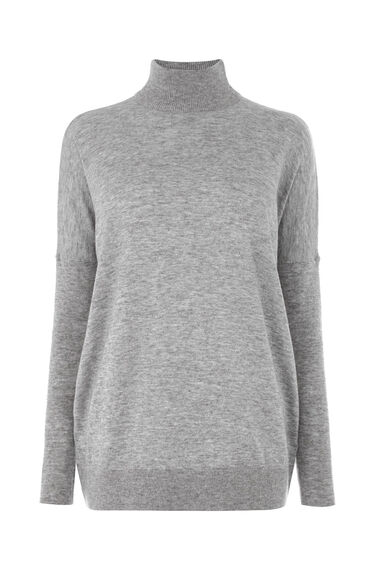 Warehouse, SUPER BOXY TURTLE NECK JUMPER Light Grey 0