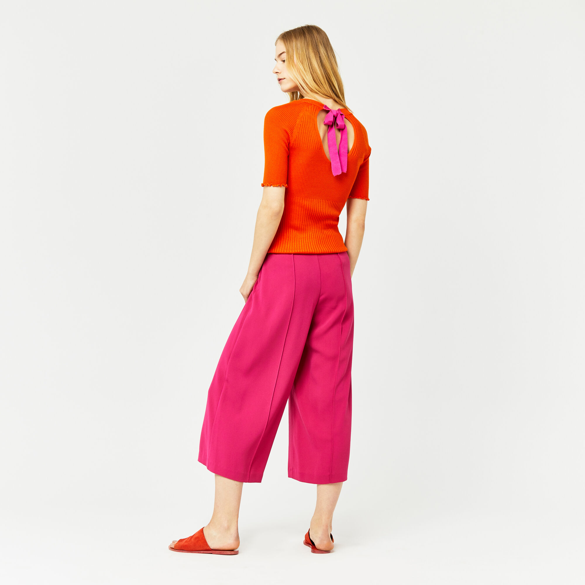 Warehouse, PINTUCK CULOTTES Bright Pink 1
