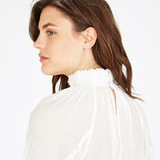 Warehouse, HIGH NECK BLOUSON TOP Cream 4