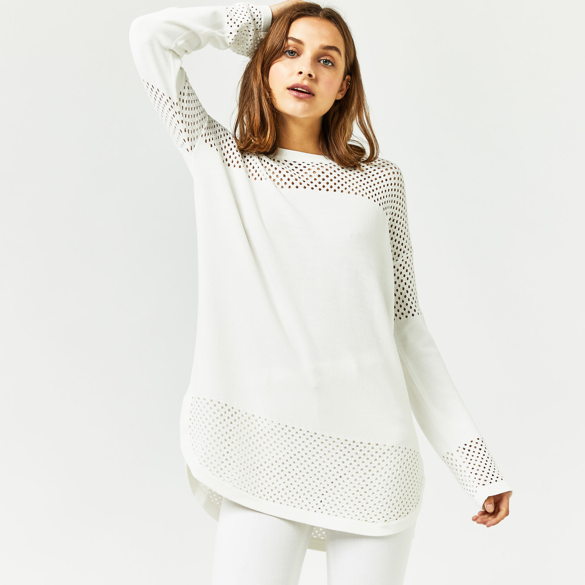 Warehouse, MESH PANEL LONGLINE JUMPER Cream 1