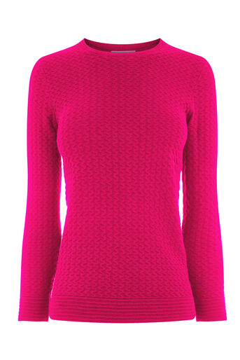 Warehouse, RIPPLE STITCH JUMPER Bright Pink 0