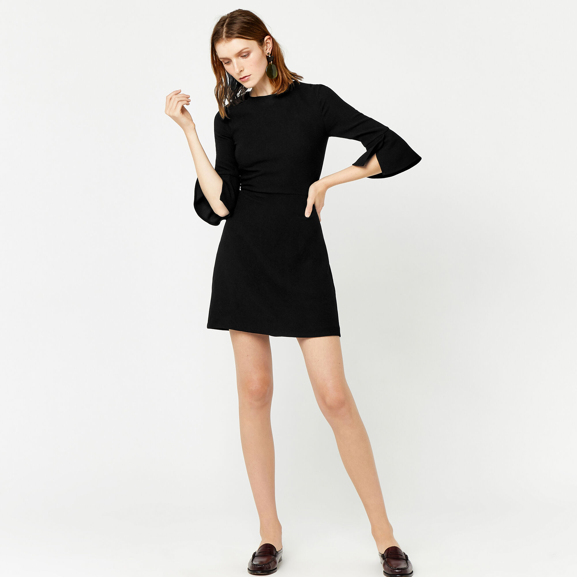 Warehouse, FLUTE SLEEVE DRESS Black 1