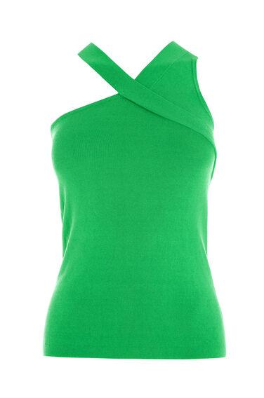 Warehouse, ASYMMETRIC STRAP TOP Bright Green 0
