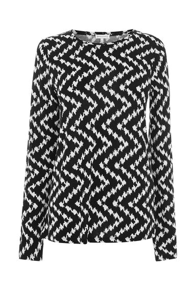 Warehouse, CHEVRON LONG SLEEVE TOP Black Pattern 0
