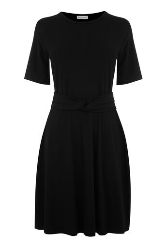 Warehouse, TWIST BELT DRESS Black 0