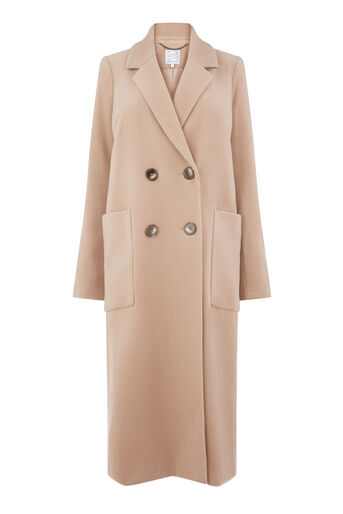 Warehouse, Silk Mix Long Line Crombie Camel 0