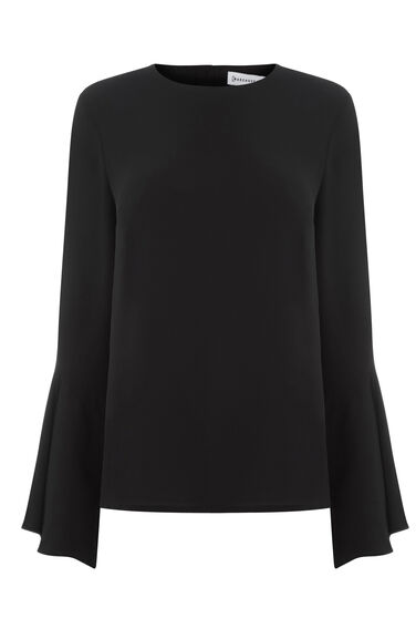Warehouse, BUTTON BACK FLUTED SLEEVE TOP Black 0