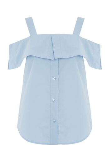 Warehouse, BUTTON THROUGH COTTON CAMI Light Blue 0