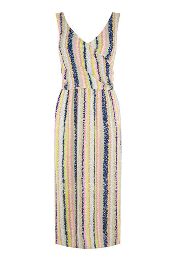 Warehouse, DASH STRIPE WRAP DRESS Pink Stripe 0