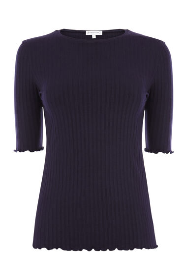 Warehouse, RIBBED CREW NECK TOP Navy 0