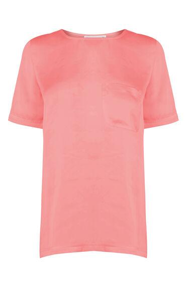 Warehouse, Satin Front Tee Light Pink 0