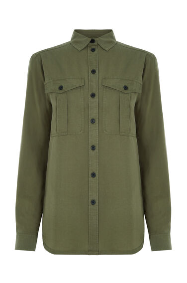 Warehouse, CASUAL UTILITY SHIRT Khaki 0