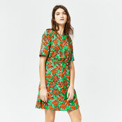 Warehouse, WOODBLOCK DAISY FLIPPY DRESS Green Print 4