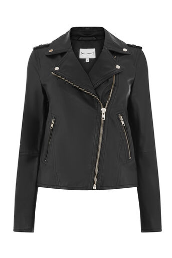 Warehouse, LEATHER BIKER JACKET Black 0
