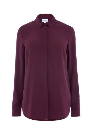 Warehouse, CASUAL BUTTON UP SHIRT Dark Red 0
