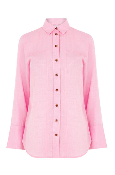 Warehouse, CASUAL SEAM DETAIL SHIRT Bright Pink 0