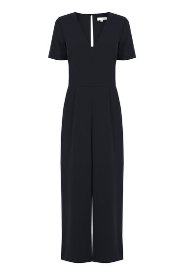 Warehouse, V Neck Jumpsuit Black 0