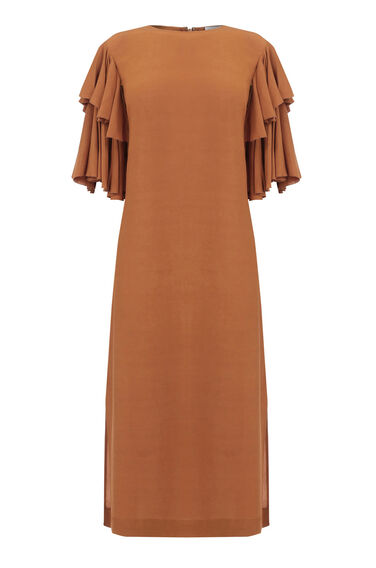 Warehouse, RUFFLE SLEEVE MIDI DRESS Tan 0