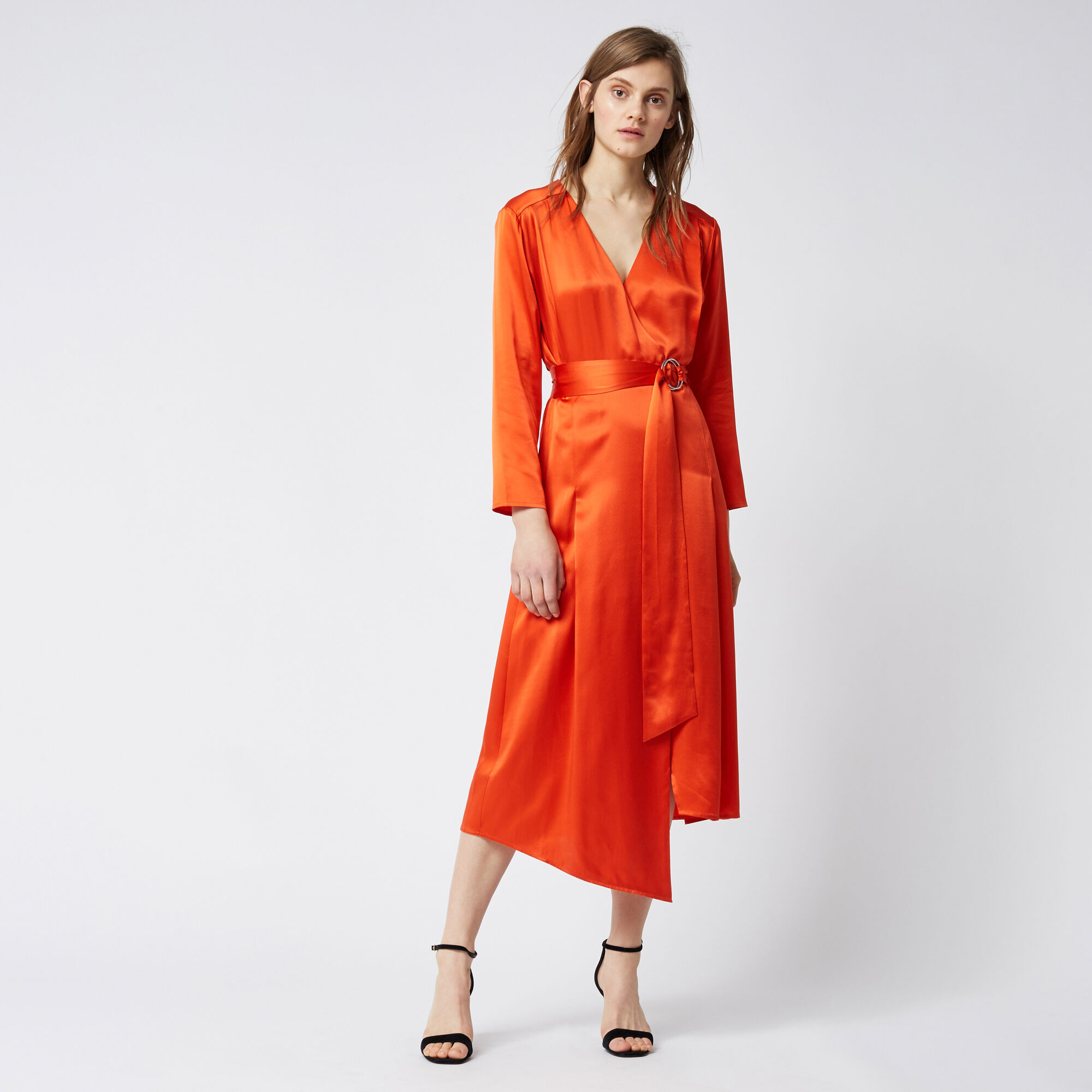 Warehouse, SILK LONG SLEEVE WRAP DRESS Orange 1