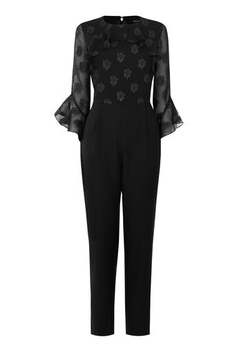 Warehouse, SOFT LUREX JACQUARD JUMPSUIT Black 0