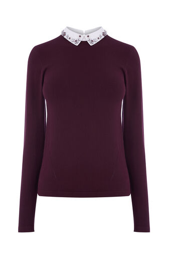 Warehouse, EMBELLISHED COLLAR JUMPER Berry 0