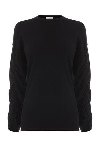 Warehouse, RUCHED SLEEVE JUMPER Black 0