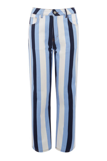 Warehouse, Stripe Straight Cut Jean Multi 0