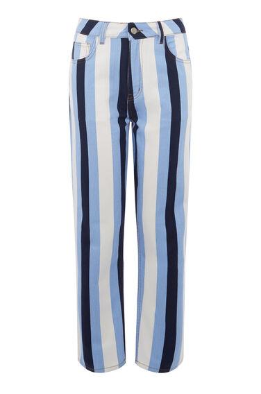 Warehouse, Stripe Straight Cut Jean Multi 0