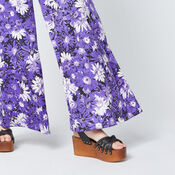 Warehouse, ASTER FLORAL TROUSERS Purple Pattern 4