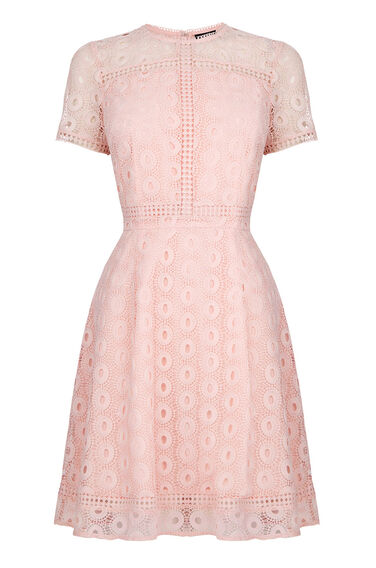 Warehouse, MIXED LACE PROM DRESS Light Pink 0
