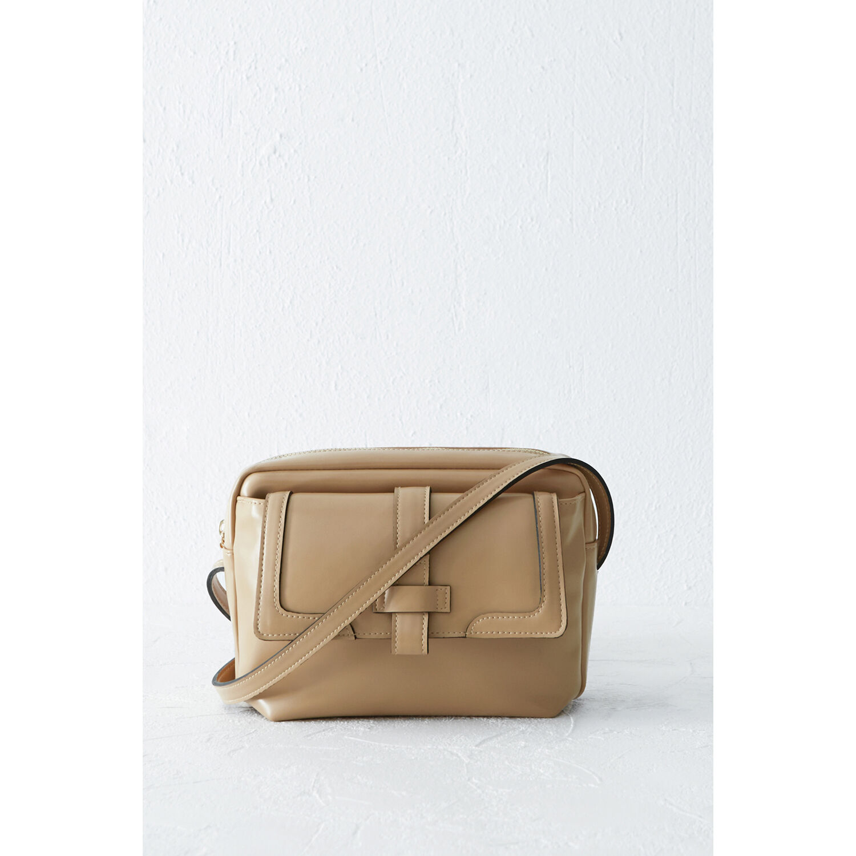 Warehouse, Tab Pocket Shoulder Bag Beige 1