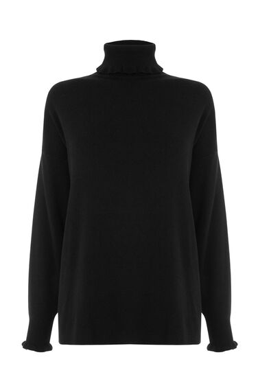 Warehouse, FRILL HIGH NECK BOXY JUMPER Black 0
