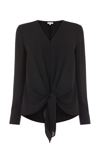 Warehouse, TIE FRONT LONG SLEEVE TOP Black 0