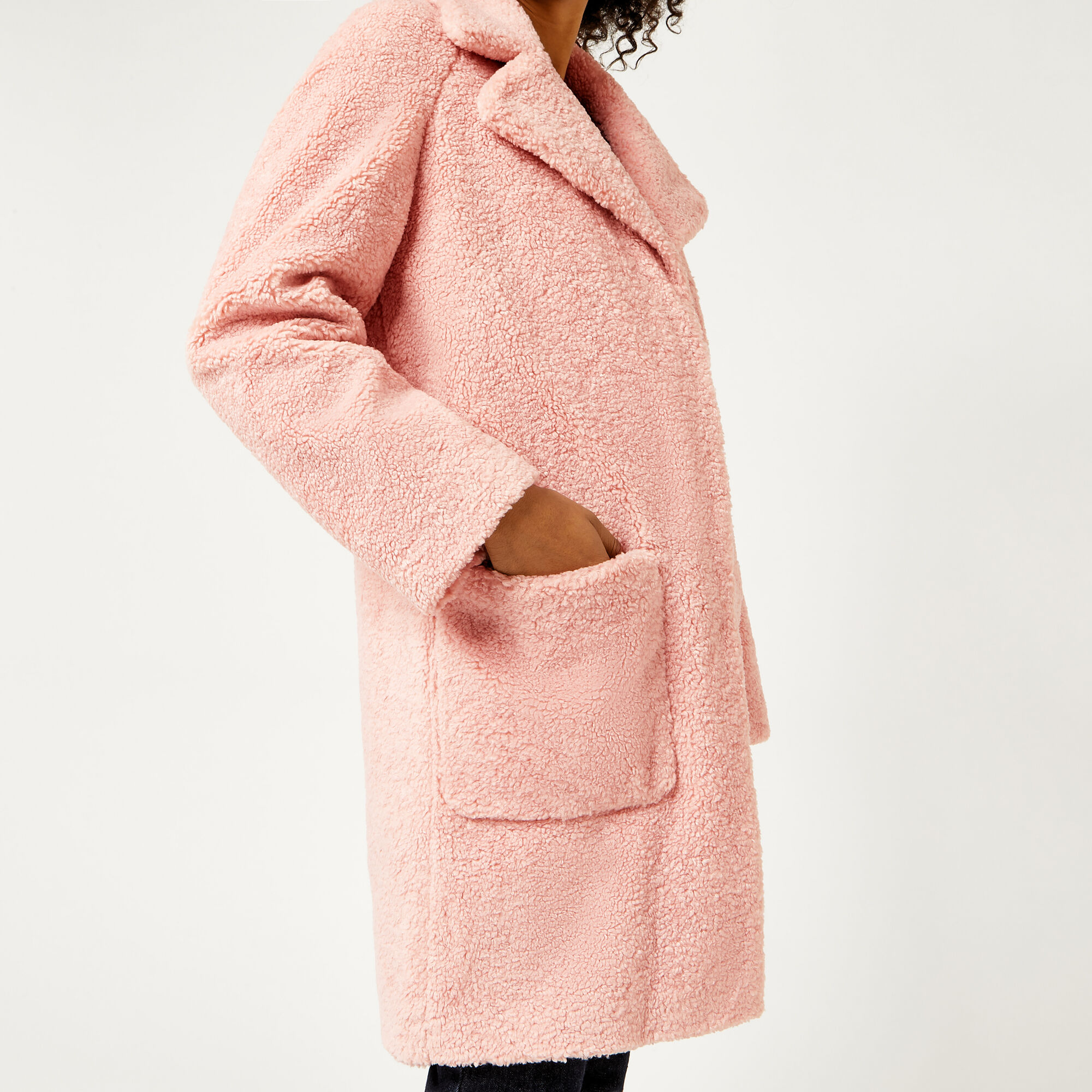 Warehouse, Teddy Faux Fur Coat Light Pink 1