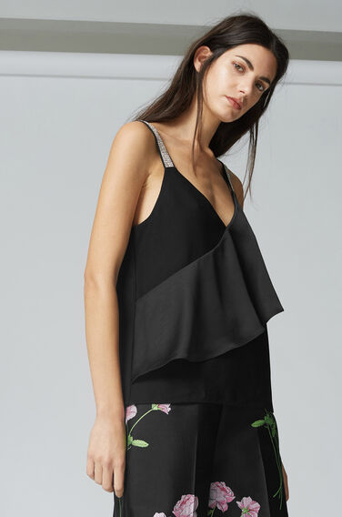 Warehouse, FRILL FRONT DIAMANTE TOP Black 1