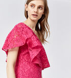 Warehouse, BONDED LACE ONE SHOULDER DRESS Bright Pink 4