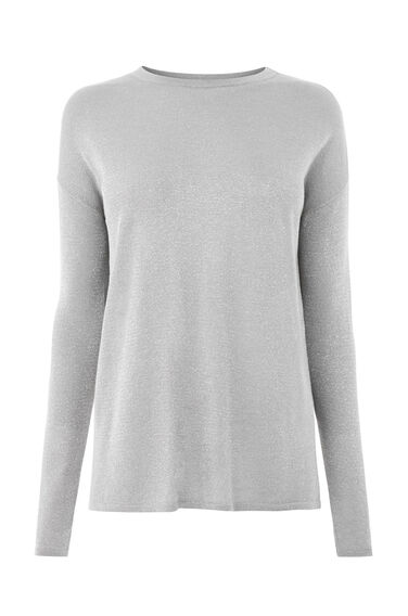 Warehouse, SPARKLE TWIST BACK JUMPER Light Grey 0
