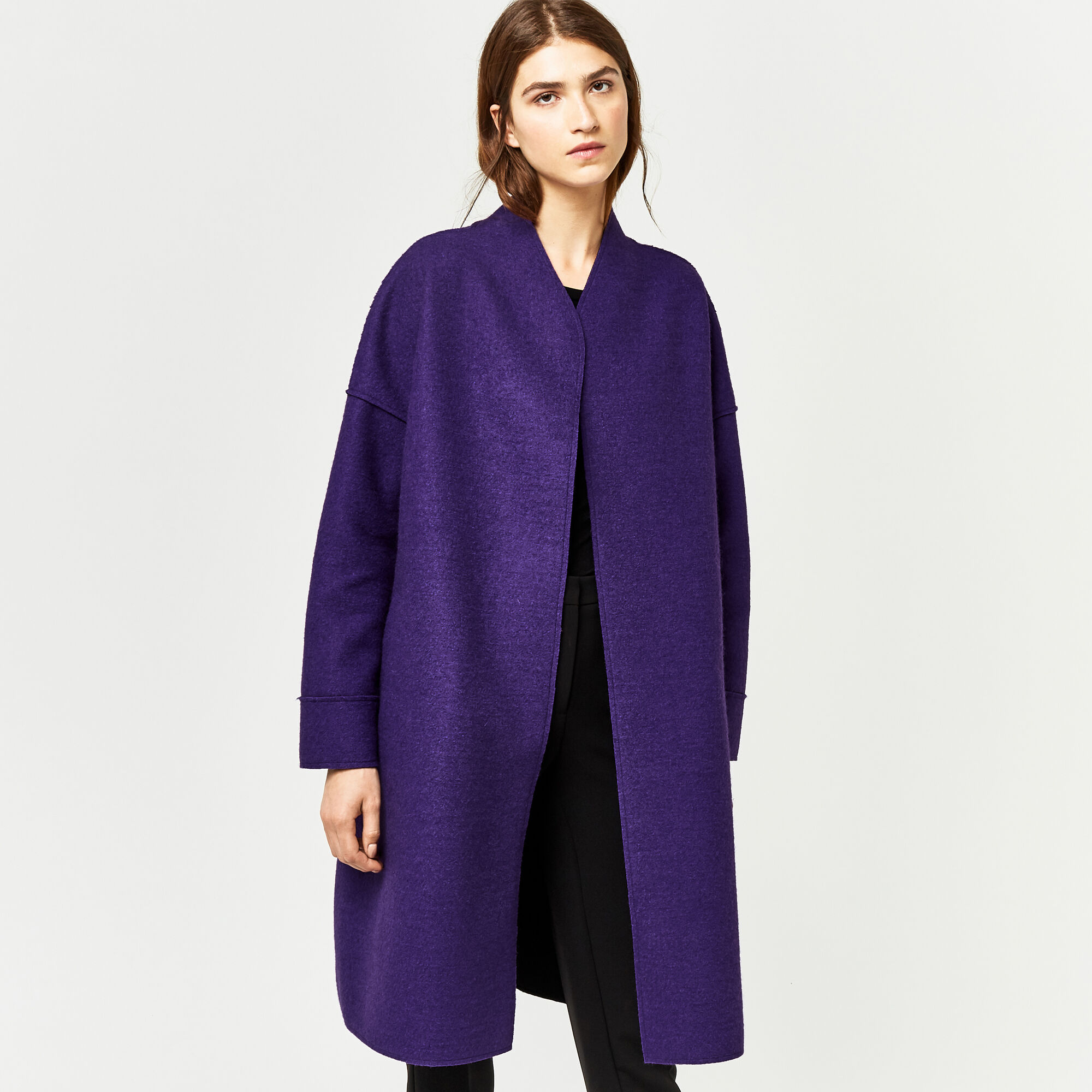 Warehouse, BONDED SWING COAT Dark Purple 1