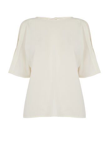 Warehouse, TIE BACK SLEEVE DETAIL TOP Cream 0