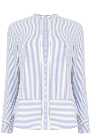 Warehouse, Ticking Stripe Grandad Shirt Blue Stripe 0
